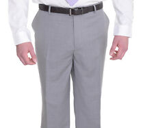 Mens Classic Fit Solid Light Gray Flat Front Super 140's Wool Dress Pants