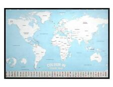Gloss Black Framed World Map Colour In Maxi Poster 61x91.5cm