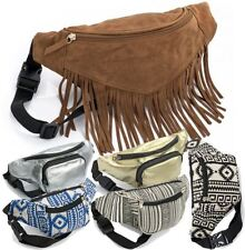 NEW CANVAS FAUX SUEDE METALLIC BUMBAG TRAVEL HOLIDAY POUCH FESTIVAL WAIST BAG