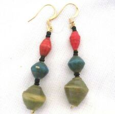 Recycled Paper Bead Earrings Jungle Party 3 Bead Drops, Choose Wire Color Uganda