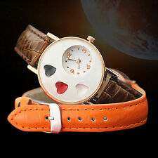 Girl's High-End Ellipse Love Heart Faux Leather Band Quartz Student Wrist Watch