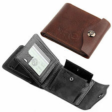 Mens Luxury Soft Quality Leather Wallet Credit Card Holder Purse Brown/Black UK