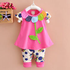 New 2pcs baby Girls clothes tops+pants Set Outfits spring suit clothes flower