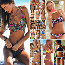 Womens Boho Strapless Halter Bikini Top & Bottom Swimwear Triangle Beachwear