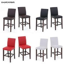 2PCS DINING CHAIRS FAUX LEATHER PADDED RESTAURANT PUB BAR WOODEN STOOLS J1N9