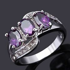 Size 6,7,8,9 Beautiful Amethyst 18K Gold Filled Fashion Wedding Womans Rings