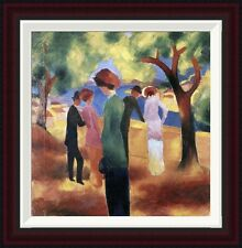 Global Gallery Lady in a Green Jacket by August Macke Framed Painting Print
