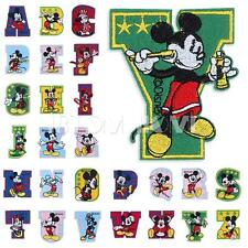 Mickey Minnie Embroidered Patch Letter A-Z Iron On Sew DIY Cloth Decor Appalique