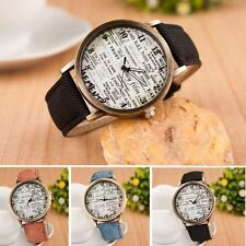 Classical Letter Fabric Women Men's Sport Numerals Analog Quartz Wrist Watch
