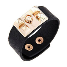 1PC Vintage Women Punk Stud Pyramid Metal Leather Wristband Bangle Bracelet Cuff