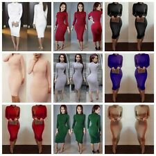 Vogue Women Long Sleeve Slim Solid Cocktail Party Clubwear Bodycon A Line Dress