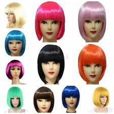 Women Short Straight BOB Hair Style With Bangs Full Wigs Party Cosplay Fashion