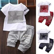 Kids Short Sleeve Baby Boy Summer Clothes Casual Tops T-shirt+Pants Outfits 2PCS