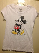 DISNEY Mickey Mouse Womens White Tee T Shirt Size Small 3/5 Brand New