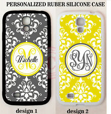 PERSONALIZED GREY YELLOW DAMASK MONOGRAM CASE For Samsung Galaxy S7 S6 NOTE 7 5