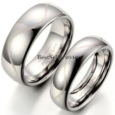 Mens Ladies Polished Dome Laser Engraved Tungsten Carbide Wedding Ring Band Gift