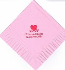 SINGLE HEART LOGO 50 Personalized printed LUNCHEON DINNER napkins