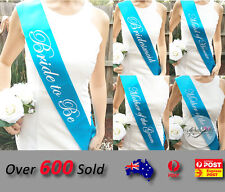 Baby Blue Wedding Sashes Hens Night Engagement Bride To Be Bridesmaid Maid Honor