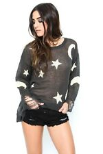 NWT Wildfox Couture Lennon Night Owl Baggy Beach Jumper Sweater Dirty Black