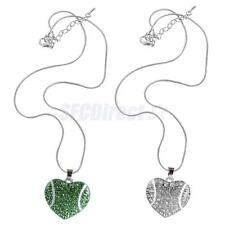 New Baseball Theme Rhinestone Heart Pendant Necklace Chain Fashion Jewelry Gift