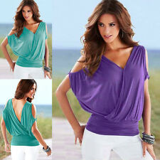 Chic Women's Sexy V-neck Backless Loose Tops Batwing Sleeve Blouse Casual Tops
