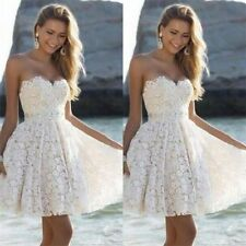 Elegant White/Ivory Beach Wedding Dress Women Mini Short Bridal Gown Custom Made