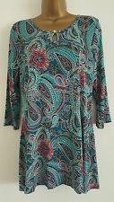 NEW M&S PER UNA Teal Blue Purple Paisley Print Keyhole Tunic Top Blouse 10-18