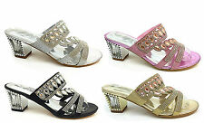 LADIES OPEN TOE PARTY EVENING MULES SANDALS,BLACK GOLD SILVER PINK SIZE 3-8 DL25