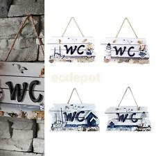 Nautical Hand Carved Door Hanging Wooden WC/Welcome Plaque Sign Board Wall Decor