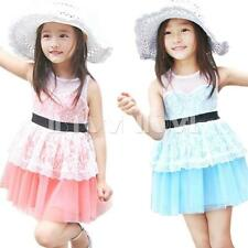 Flower Toddler Girl Kid Lace Tulle Tutu Dress Party Pageant Fancy Skirt SZ 2-7Y