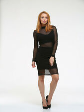 NEW SEXY BLACK LONG SLEEVE LACE MESH INSERT BODYCON LADIES DRESS SIZE 8 10 12 14