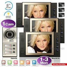 "8"" LCD Video Door Phone Intercom Recording Night Vision Entry System 1-3 Family"