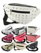 LADIES FAUX LEATHER SEQUINS STUDDED BUMBAGS TRAVEL FANNY PACKS MONEY POUCH