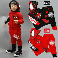 Toddler Kids Boys Sweatshirt+Pants Spider-man Hooded Pullover Tracksuits Outfits