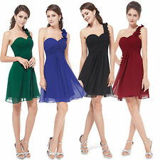 One Shoulder Women Short Mini Bridesmaid Dress Cocktail Party Prom Chiffon Gowns