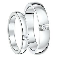 3&5mm Titanium Rings His & Hers  CZ Stone Engagement Wedding Ring Bands