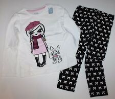 baby Gap NWT Girls 3T Outfit Set Glittered Girl Walking Dog Top & Bow Leggings