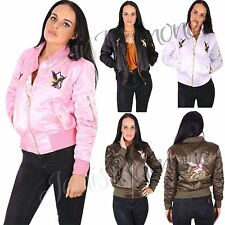 New Womens Ladies Eagle Bird Embroidered Bomber Jacket Satin Zip Up Biker Coat
