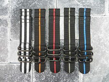 22mm Nylon Black PVD Diver Strap 3 Rings Stripe Watch Band 2 Pieces ZULU Maratac