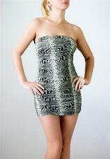 FASHION MAGAZINE Gray Ruched Snake Pattern Strapless Tube Party Micro Mini Dress
