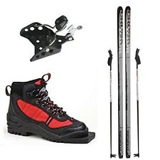 New Whitewoods Junior 75mm 3 Pin XC Cross Country Package Skis Boots Poles 117cm