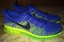 NEW Mens 13 NIKE AIR MAX Flyknit 360 Royal Blue Lime Gree Running Training Shoes