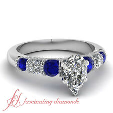 1.25 Ct Pear Shaped Diamond & Blue Sapphire Channel Engagement Ring 14K Gold GIA