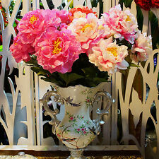 Artificial Silk Peony Flowers 8 Heads Bridal Hydrangea Party Wedding Decor Home