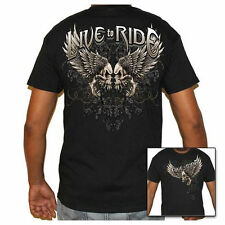 Mens Biker Black T-Shirt - Live To Ride - Skull & Wings - Clothes Shirts