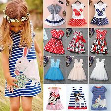 Summer Kids Girls Dress Princess Baby Mickey Minnie Mouse Vest Skirt Age 1-7Year