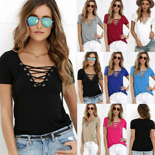 Sexy Women's Summer V-Neck Bandage Short Sleeve Slim T-Shirts Casual Tops Blouse