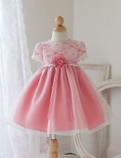Baby Flower Girl Dress Lace Covered Bodice And Sleeves Baptism Christening