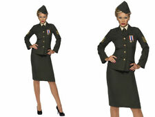 1940's Costume WW2 Army Uniform Ladies Wartime Officer Fancy Dress Outfit