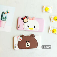 Adorable Line Friend Bear Brown Daisy Duck Leather Skin Case For iPhone 6 6sPlus